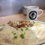 Biscuits & Gravy with house made sausage and freshly baked biscuits