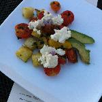 Panzanella Salad with mangled, spotted avocado