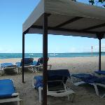 beautiful beach with sun shades