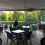 the outdoor terrace of the Willows inn