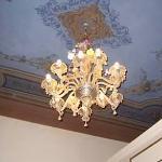 Beautiful chandelier/painted ceilings