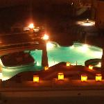 view of pool at night from our 5th floor balcony