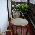 """Our little Balcony off """"Sultana"""". Each morning I rang for tea and it was delivered to our room."""