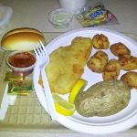Fried haddock and scallops