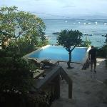 View from stairs down to Pool and bay