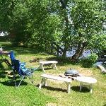 Log Cabin front yard lakeside