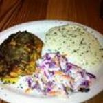 Salmon, grits, and red cabbage cole slaw