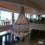 The hotel chandelier at the entrance