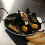 P.E.I. Mussels with Surryano Ham & Gorgonzola