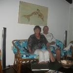lounge in villa relaxing on the cane sofa,s