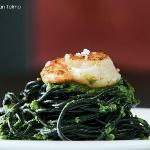 squid ink spaguetti with grilled scallop