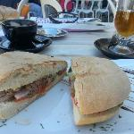 A local cafe serving Ftira bread with Maltese sausage