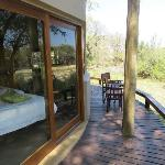 The deck with view of second bedroom