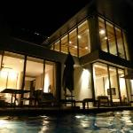 Our duplex villa at night.