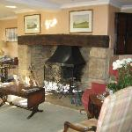 Drawing room fireplace, where a log fire is laid on chilly evenings.
