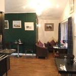 Waterside Cafe Bistro interior, showing the Gallery art-work