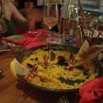 Spanish seafood paella at Boho Chic
