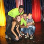 Our grandson Lucas with the animators Alex Edwin and Monica