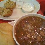 chicken&sausage gumbo, boudin ball with spicy mayo