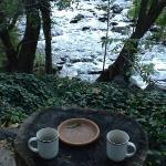 Morning coffee by the creek