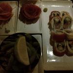 Delicious sashimi and rolls