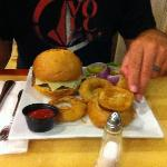 Hamburger and onion rings from the RB Restaurant