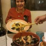 Caroline from Australia enjoying the 'seafood risotto'