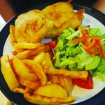 Crispy Battered Dory Fillets , Chips ,Salad.......