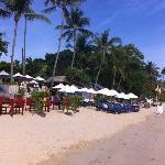Beach and restaurant.