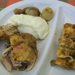 Lasagne, pollo, purè e cipollotti
