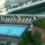Looking down on pool from 19th floor