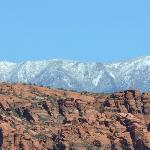 Snow Canyon behind resort