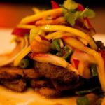 Pretty Duck: Char-grilled magret of duck, flirting with fresh mango, cashew nuts and red onion