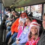 The family in an open car on the Blue Ridge Scenic Railway