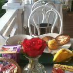 breakfast on the porch overlooking ocean