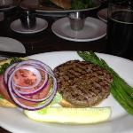 Bison Burger with broccoli and asparagus for the healthful minded