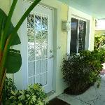 Private entrance, a few steps from relaxing pool.