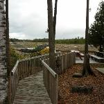 Romantic boardwalk leading to the water
