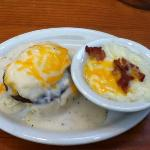 sausage & gravy biscuit, side of grits