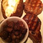 Grilled pork chops, burgundy mushrooms & baked potato