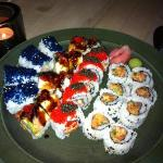 lobster sushi with caviar & blue mango roll