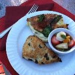 Crustless quiche, fresh fruit and scrumptious scones
