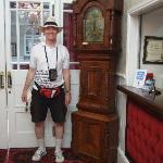 Hotel reception - love the grandfather clock!