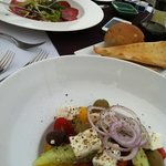 Greek salad and beef carpaccio