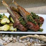 Wood Grilled Lamb, Roasted Brussels Sprouts, House Made Chimichurri