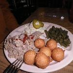 Chopped BBQ, green beans, slaw, pickles & hushpuppies!