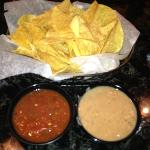complimentary salsa and warm bean dip