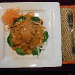 Chicken with peanut sauce.