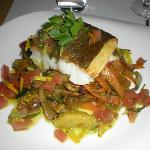 Tasty main - cod on provencale vegetables with citrus tang