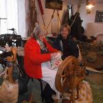 Margaret the spinner with Sue